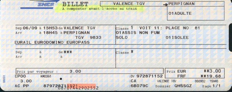 TGV tickets or the High Speed Train Ticket